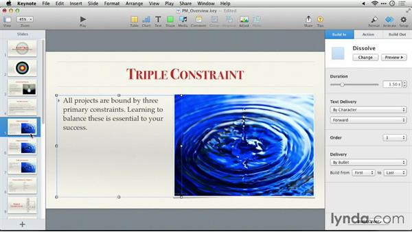 Creating a text build: Keynote 6: From Outline to Presentation