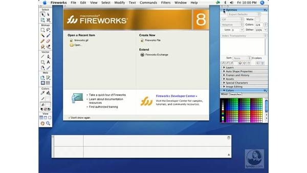 The default workspace (Mac): Fireworks 8 Essential Training