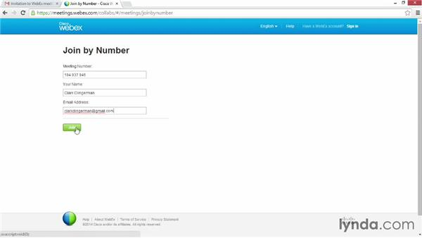 Joining a meeting from the website: Up and Running with WebEx Meetings