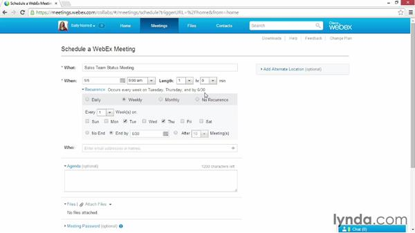 Scheduling recurring meetings: Up and Running with WebEx Meetings