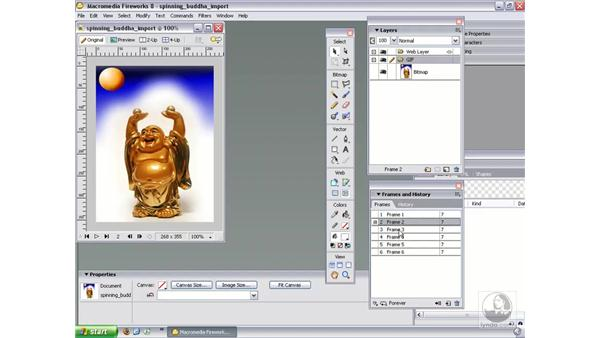 Importing animations: Fireworks 8 Essential Training