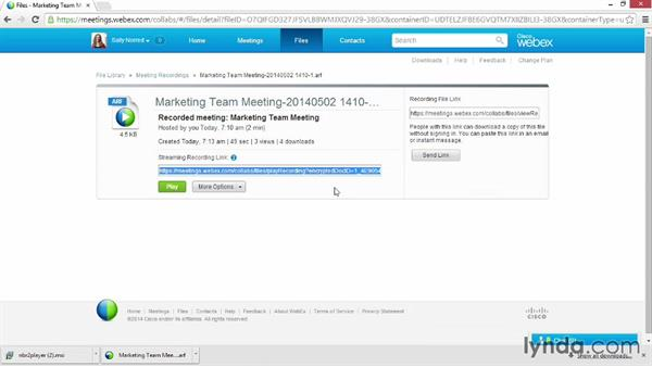 Sharing a meeting recording: Up and Running with WebEx Meetings