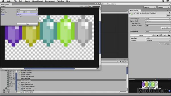 Cutting up additional sprites: Unity 4 2D Essential Training