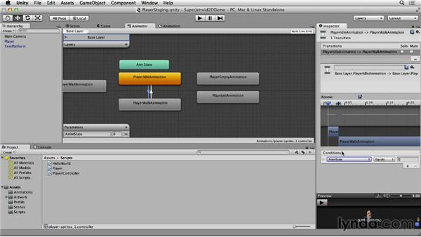 Changing animations on the player: Unity 4 2D Essential Training