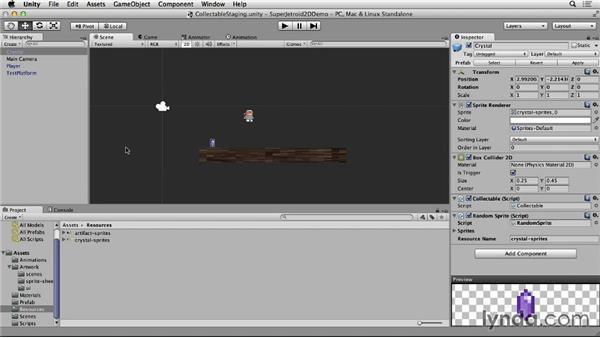 Randomly selecting sprites: Unity 4 2D Essential Training