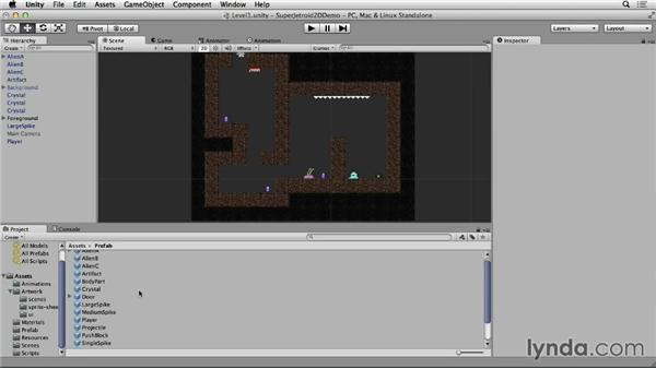 Populating the level: Unity 4 2D Essential Training
