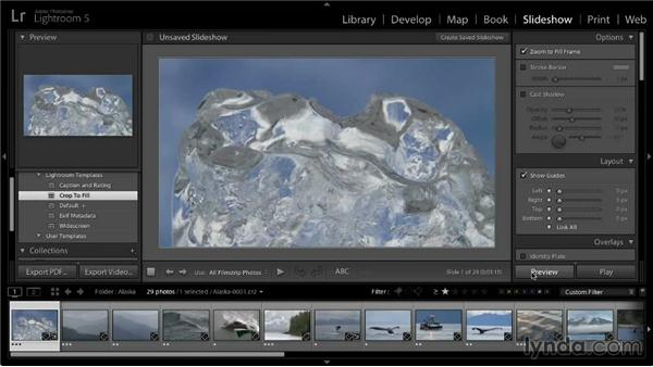 Working with the slideshow preview: Lightroom 5: 04 Creating Slideshows