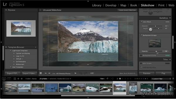 Slide backdrop options: Lightroom 5: 04 Creating Slideshows