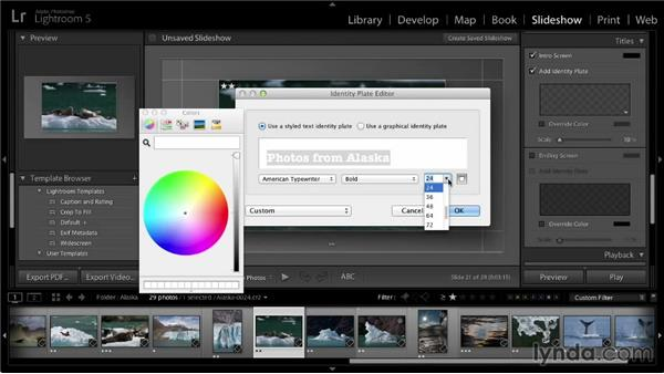 Including titles in a slideshow: Lightroom 5: 04 Creating Slideshows