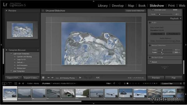 Slideshow playback options: Lightroom 5: 04 Creating Slideshows
