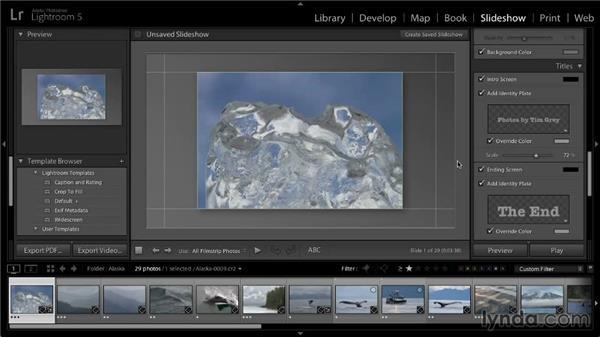 Saving a slideshow template: Lightroom 5: 04 Creating Slideshows