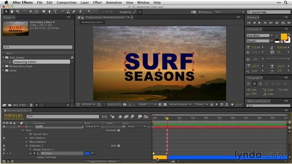Animating colors for legibility: After Effects Guru: Animating Typography