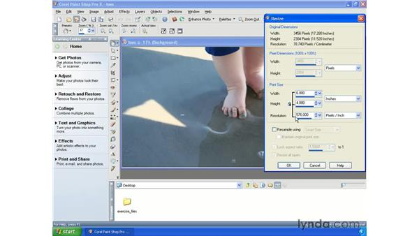 Resizing photos: Getting Started with Paint Shop Pro X
