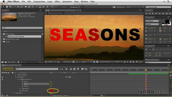 Building animation properties from scratch: After Effects Guru: Animating Typography