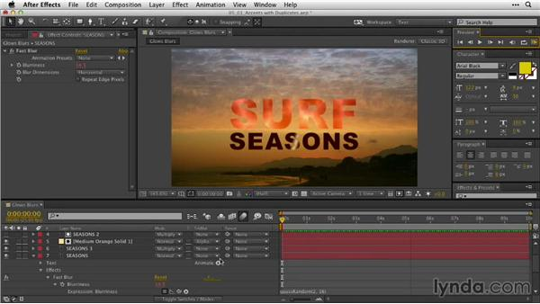 Creating subtle accents with duplicate layers: After Effects Guru: Animating Typography