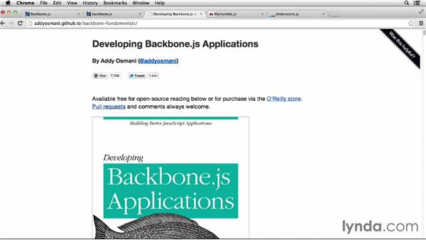 Additional Backbone resources: Up and Running with Backbone.js