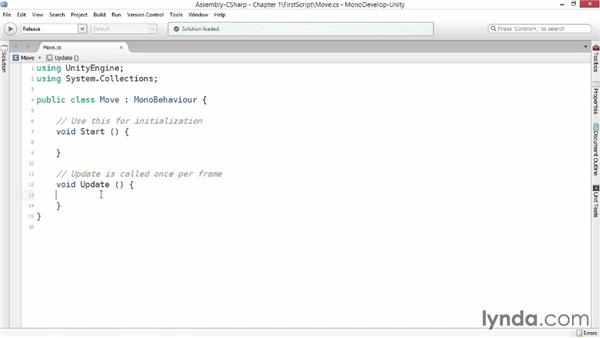 Your first script: Advanced Unity 3D Game Programming