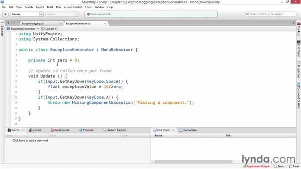 Logging exceptions: Advanced Unity 3D Game Programming