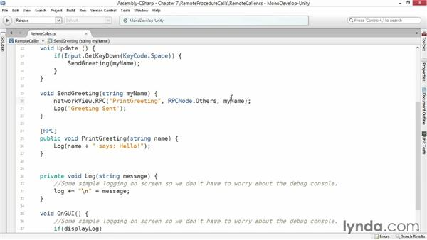 Remote procedure calls: Advanced Unity 3D Game Programming