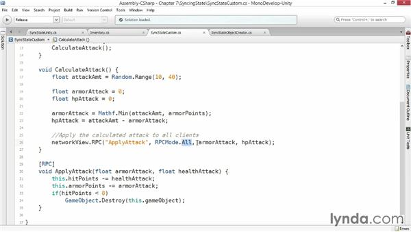Serializing and synchronizing states: Advanced Unity 3D Game Programming