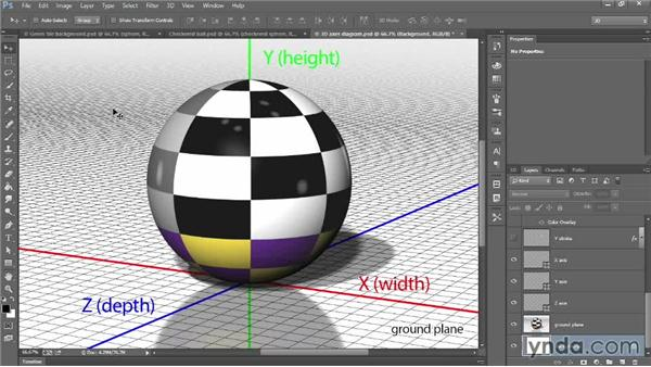 The ground plane and X, Y, and Z axes: Introducing Photoshop: 3D