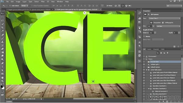 Aligning letters to the ground plane: Introducing Photoshop: 3D