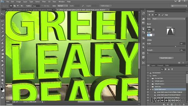 Beveling and inflating 3D type: Introducing Photoshop: 3D