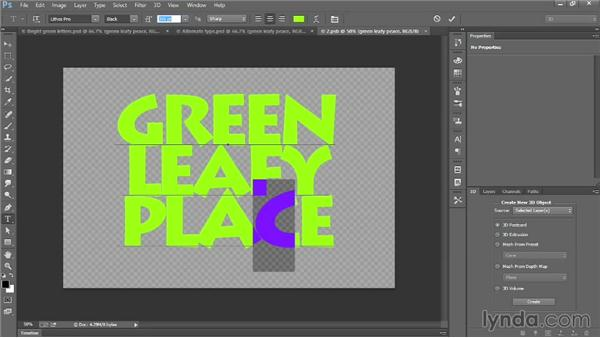 Editing and formatting 3D type: Introducing Photoshop: 3D