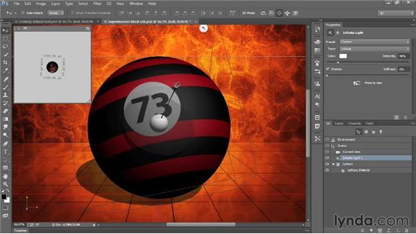 Adjusting the default infinite light: Introducing Photoshop: 3D