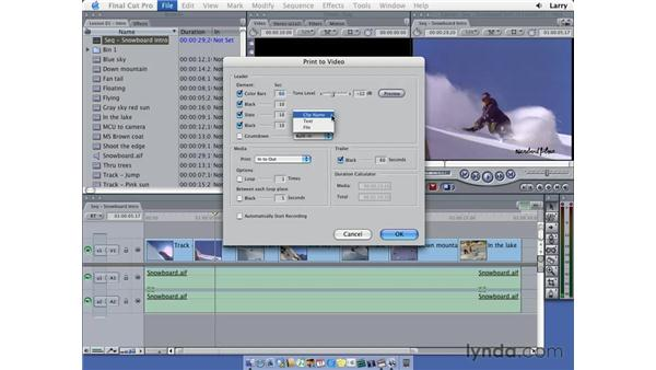 Printing to video: Final Cut Pro 5 Essential Editing