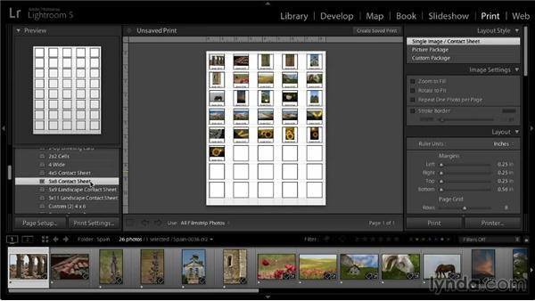 Creating a contact sheet: Lightroom 5: 05 Printing