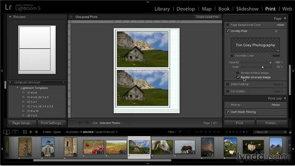 Printing with an identity plate: Lightroom 5: 05 Printing