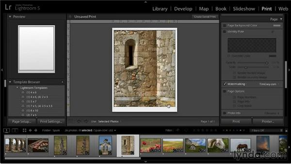 Watermarking images: Lightroom 5: 05 Printing