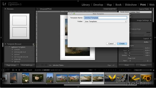 Saving a template: Lightroom 5: 05 Printing