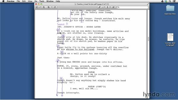 Dividing the script into scene and shot numbers: Managing a Video Production with an iPad