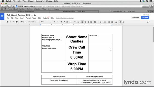 Creating call sheets: Managing a Video Production with an iPad