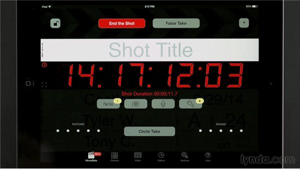 Logging shots with the MovieSlate app: Managing a Video Production with an iPad