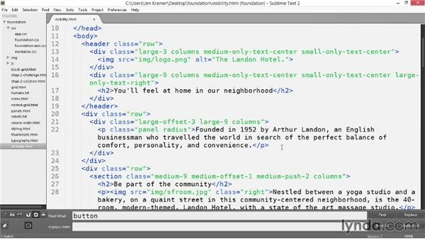 Working with visibility classes: Up and Running with Foundation 5