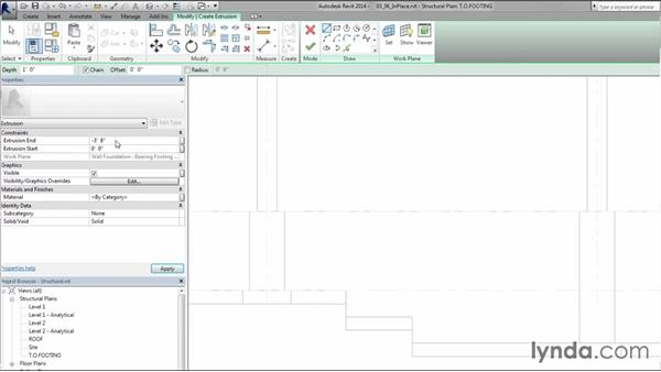 Configuring in-place concrete footing steps: Creating Concrete Buildings with Revit Structure