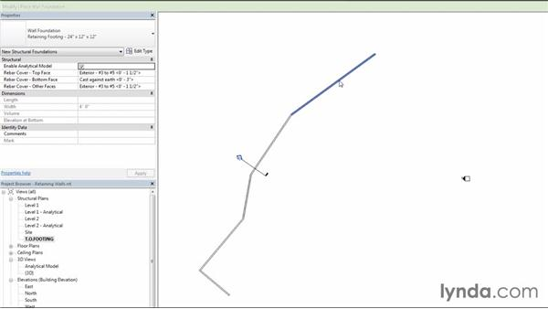 Adding retaining-wall footings: Creating Concrete Buildings with Revit Structure