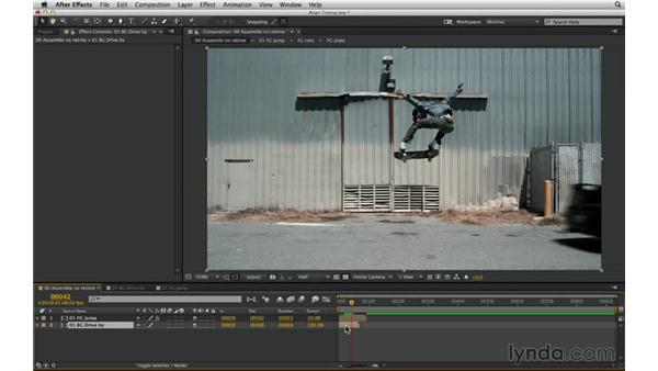 Set up the retime shot: After Effects Compositing 03: Advanced Matching and Looks