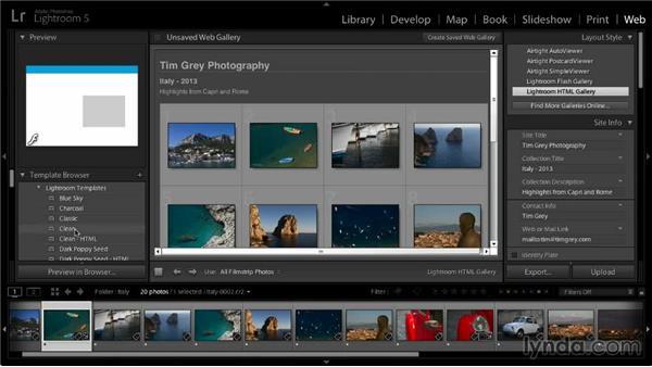 Choosing a gallery template: Lightroom 5: 06 Creating Web Galleries