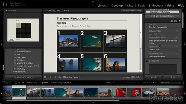 Updating site info: Lightroom 5: 06 Creating Web Galleries