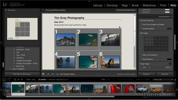 Color and appearance settings: Lightroom 5: 06 Creating Web Galleries