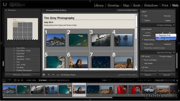 Establishing output settings: Lightroom 5: 06 Creating Web Galleries