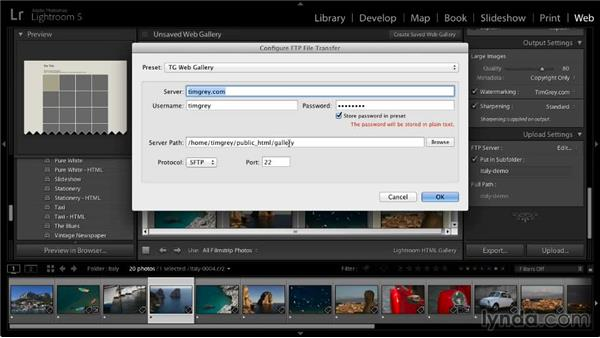 Configuring upload settings: Lightroom 5: 06 Creating Web Galleries