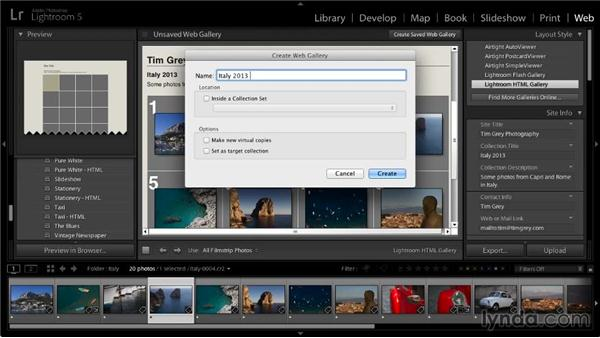Previewing and saving a web gallery: Lightroom 5: 06 Creating Web Galleries