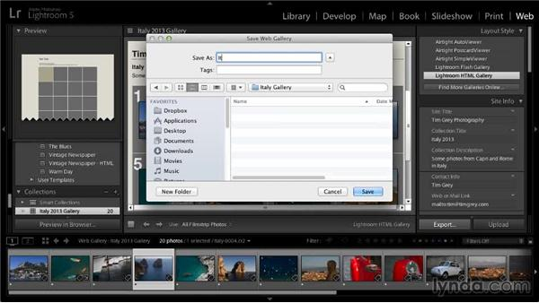 Exporting a web gallery: Lightroom 5: 06 Creating Web Galleries