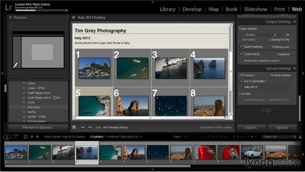 Publishing a web gallery: Lightroom 5: 06 Creating Web Galleries