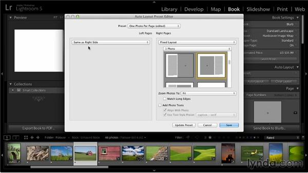 Creating an automatic book layout: Lightroom 5: 07 Making Photo Books